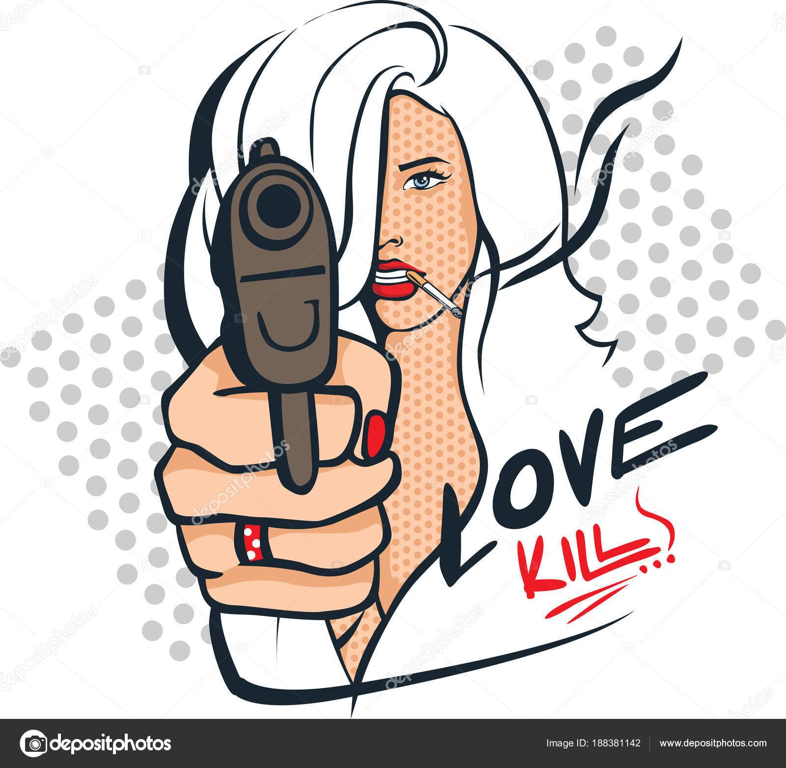 Donna Sexy Con La Pistola E Sigarette Pop Art Disegno