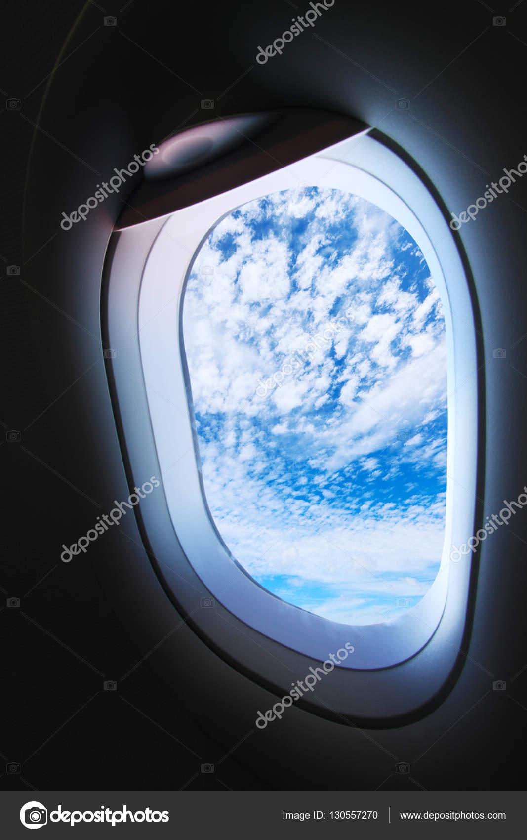 Flugzeugfenster Und Blick Aus Dem Flugzeug Irgendwo Flugzeugfenster