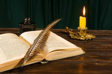 Eğitim ve yazma kavramı, kitap, yalan kalem InkWell bir