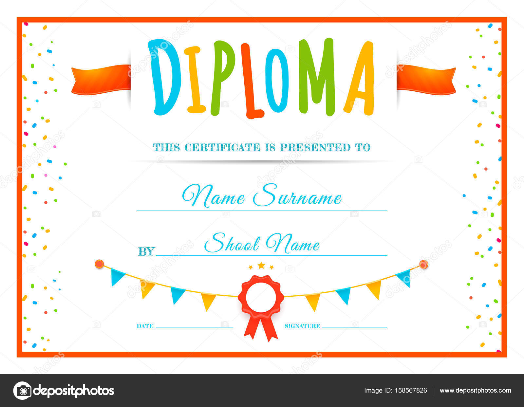 Plantilla de Diploma para niños — Vector de stock © garo_g #158567826