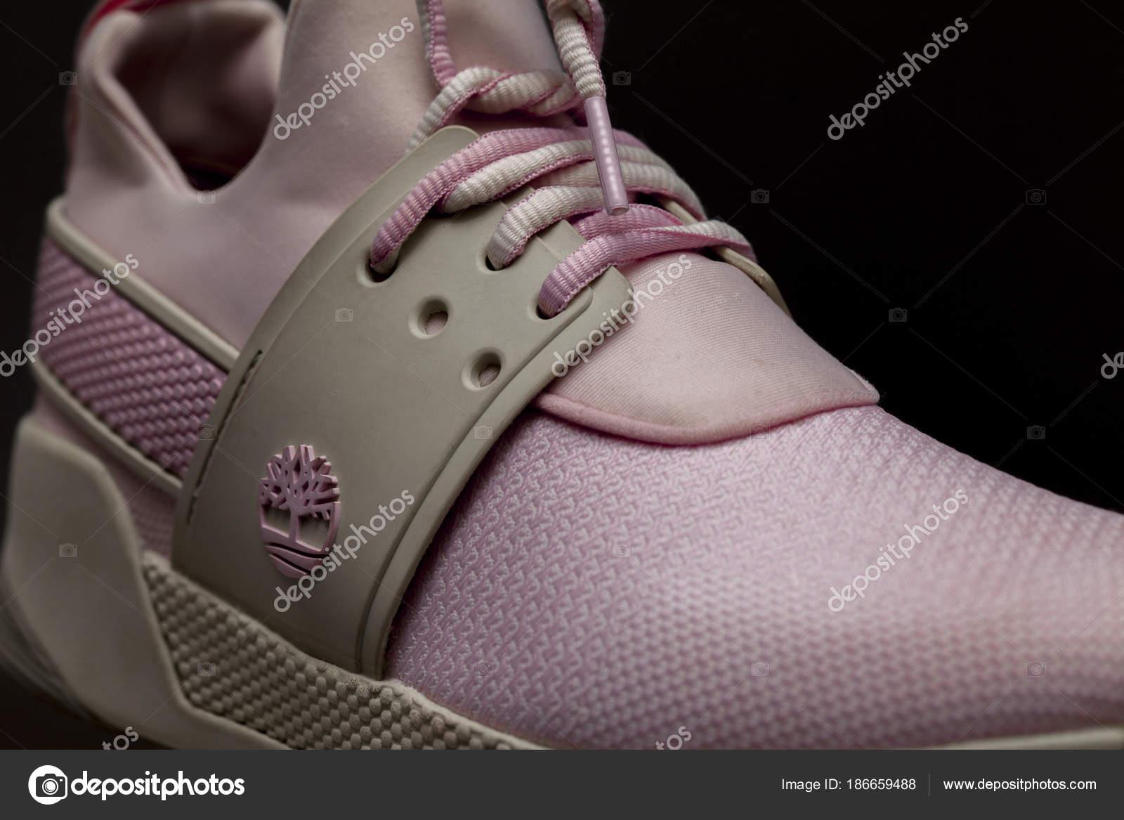 Kiev Ukraine March 2018 Pink Timberland Sneakers Women