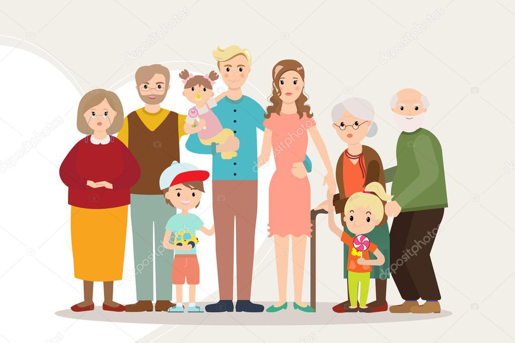 Imagen De Una Familia Feliz Animada: Big Happy Family Portrait Parents With Disabled Child