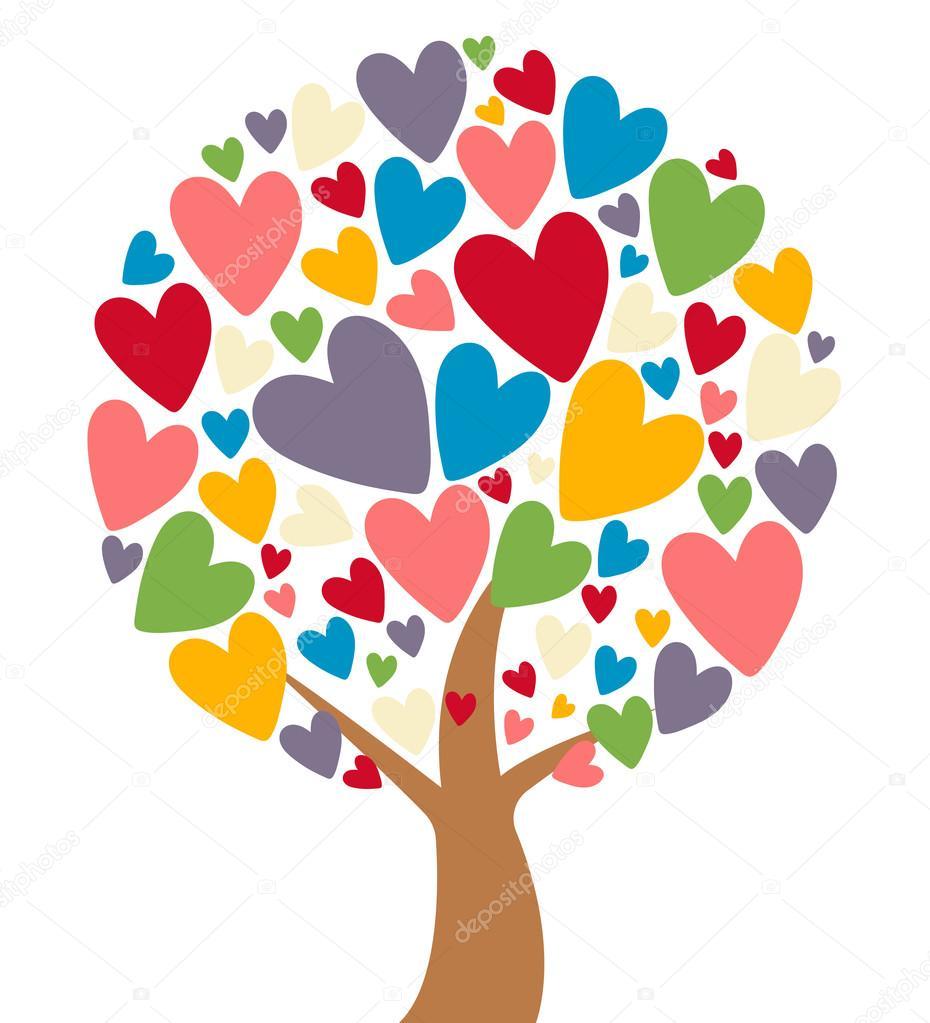 화려한 하트 잎 사랑 나무 — 스톡 벡터 © ivanriver #125158026