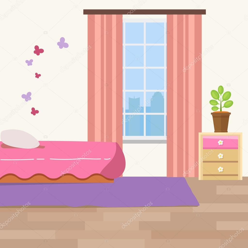 Habitación infantil con muebles blancos. Interior de rayas de color ...