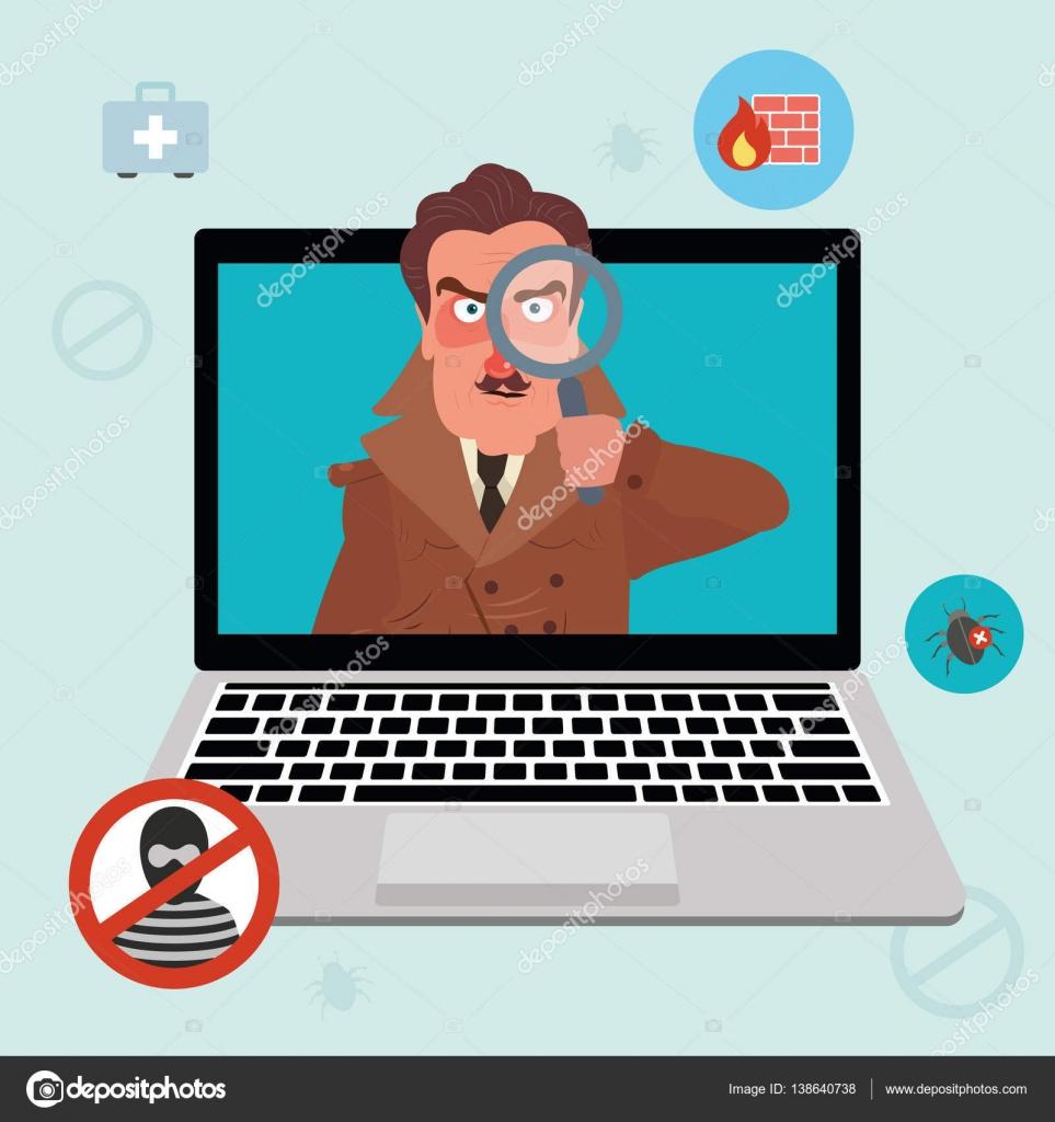 インター ネット セキュリティと探偵とスパイウェア警告 ストック