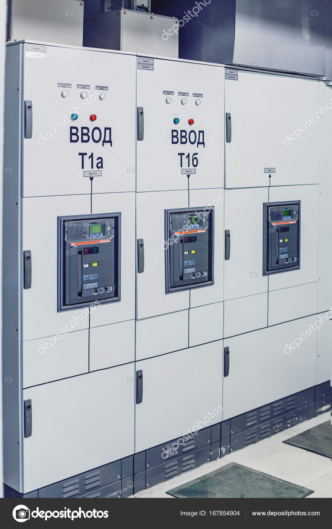 Electrical switchgear, Industrial electrical switch panel. — Stock ...