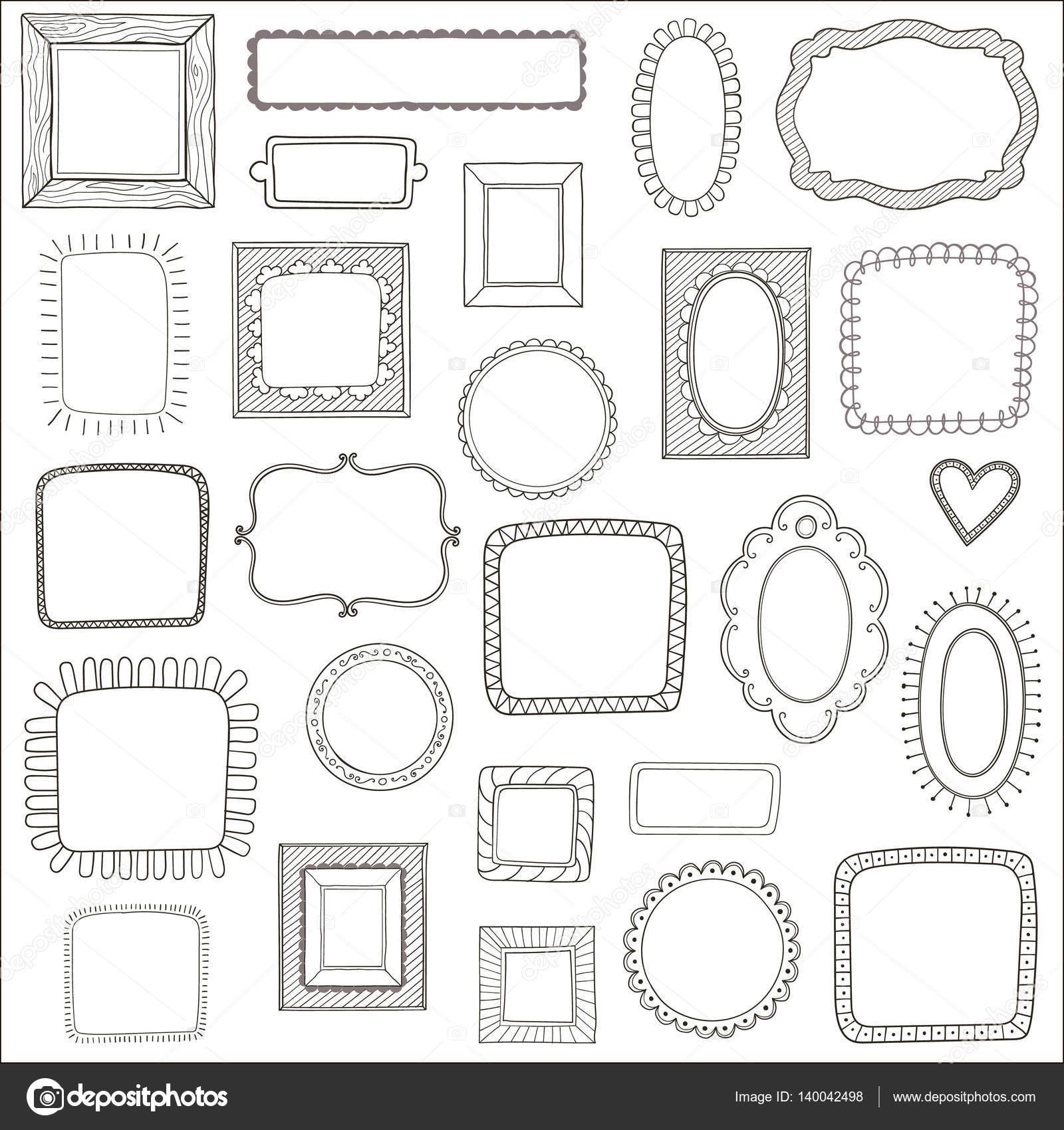 Vector de conjunto de marcos de fotos vintage, estilo doodle ...