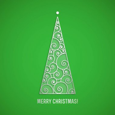 Elegant silver swirl Christmas tree with shadow on green background. Vector greeting card