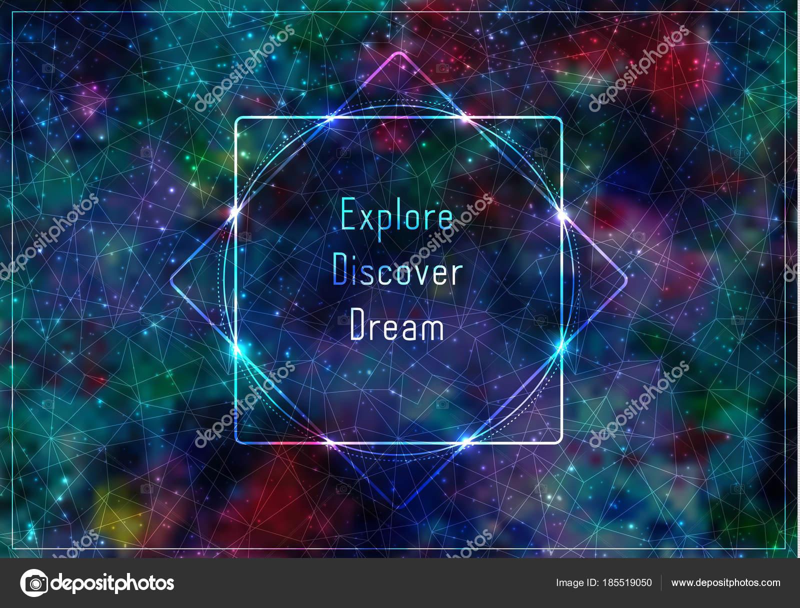 Plantilla transparente con mensaje: expore, descubrir, soñar. Marco ...