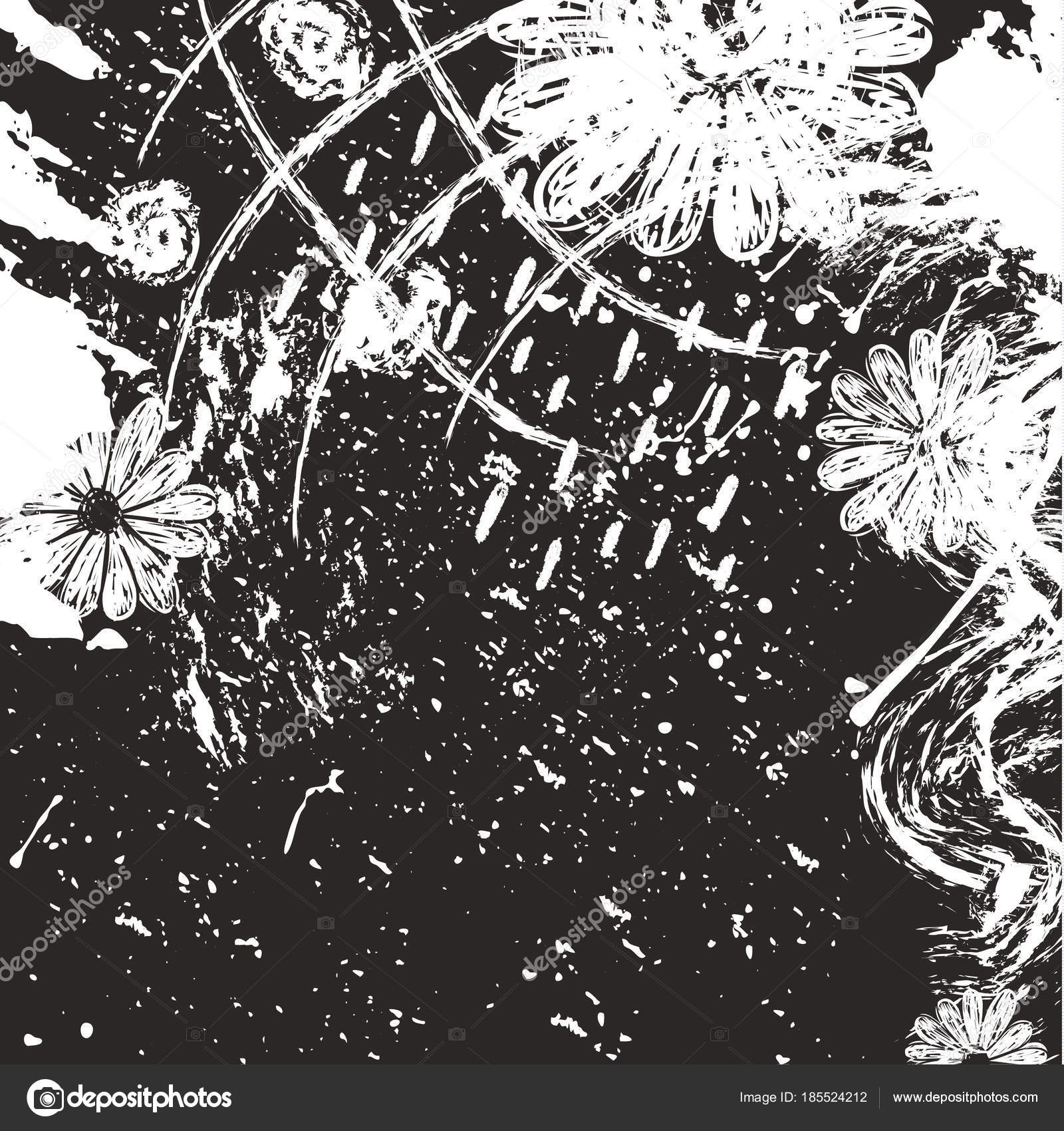 dry brush strokes hand drawn texture made with ink and flowers