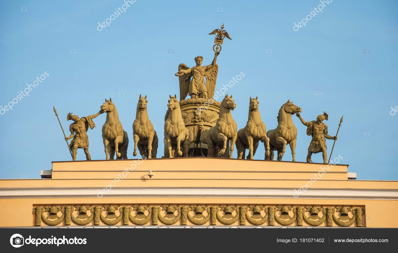 Ancient Sculpture Depicts Goddess Victory Nike Chariot — Stock Photo