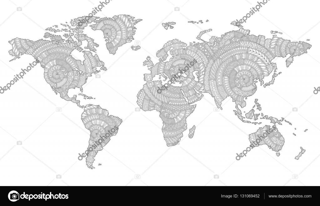Siyah Ve Beyaz Doodle Dünya Haritası Grafik Resmini Stok Vektör