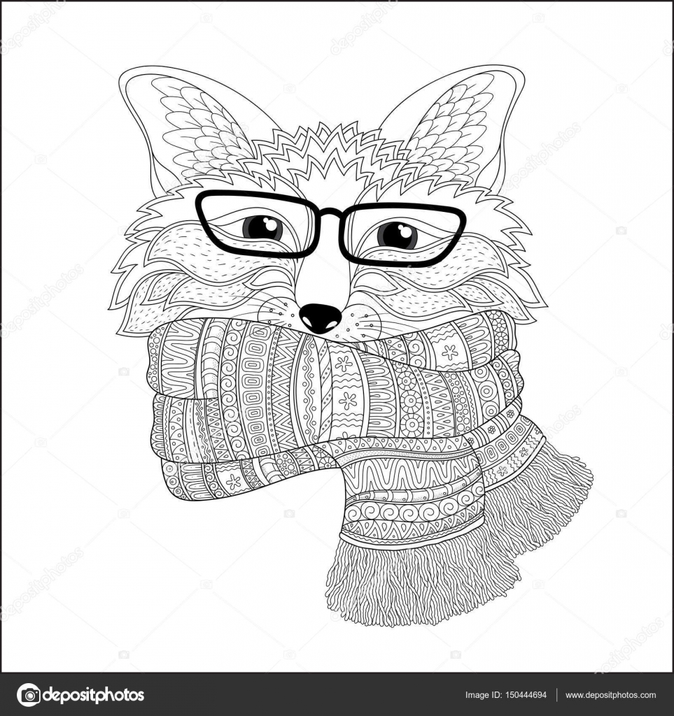 fox is wearing a scarf coloring page u2014 stock vector karpenyuk