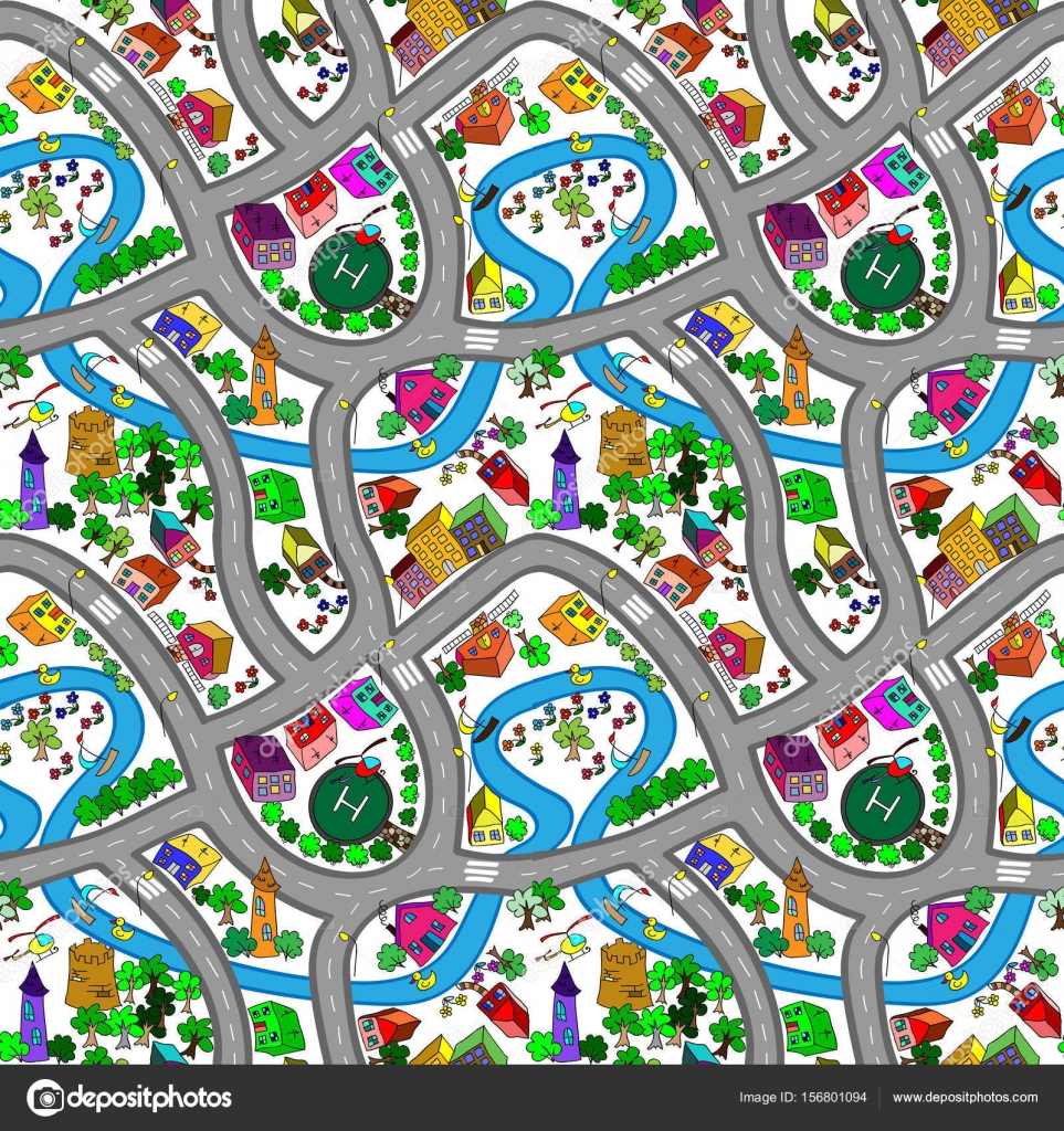 Fondo senza cuciture di vettore con cartone animato strade