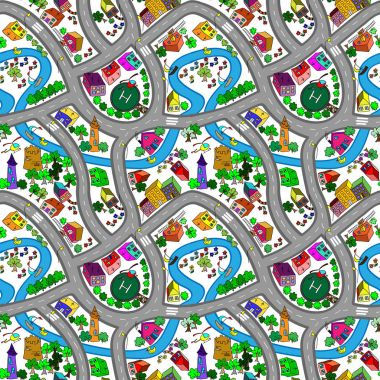 Vector seamless background with cartoon roads and cars.