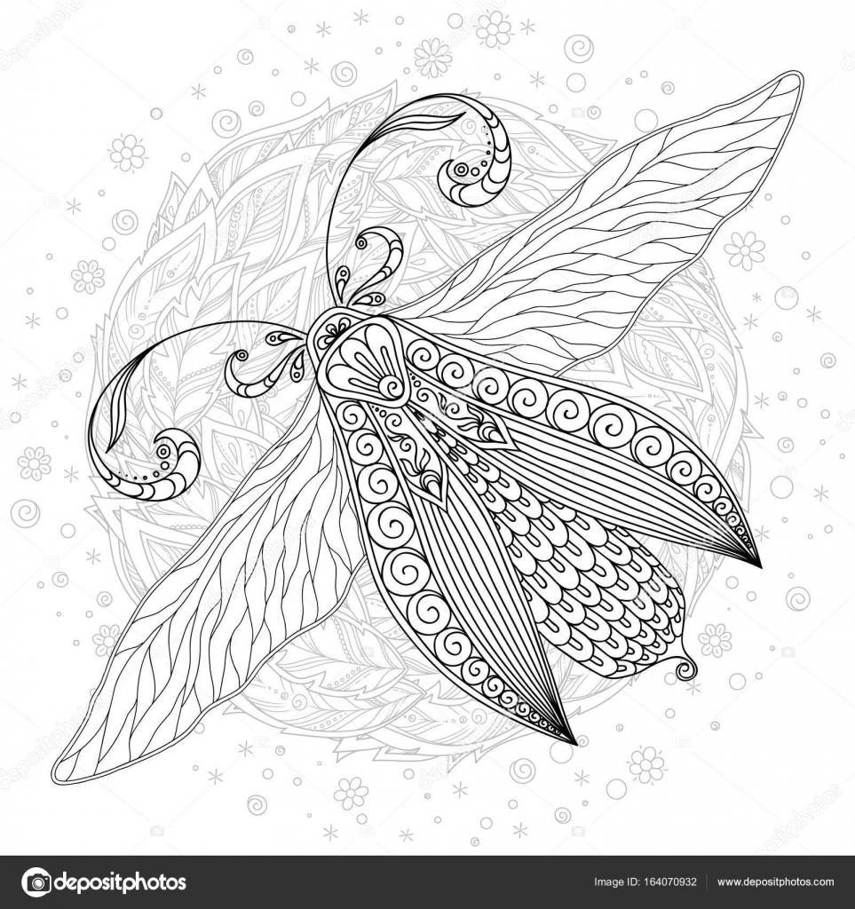 Bosquejo detallado ornamental de una polilla — Vector de stock ...