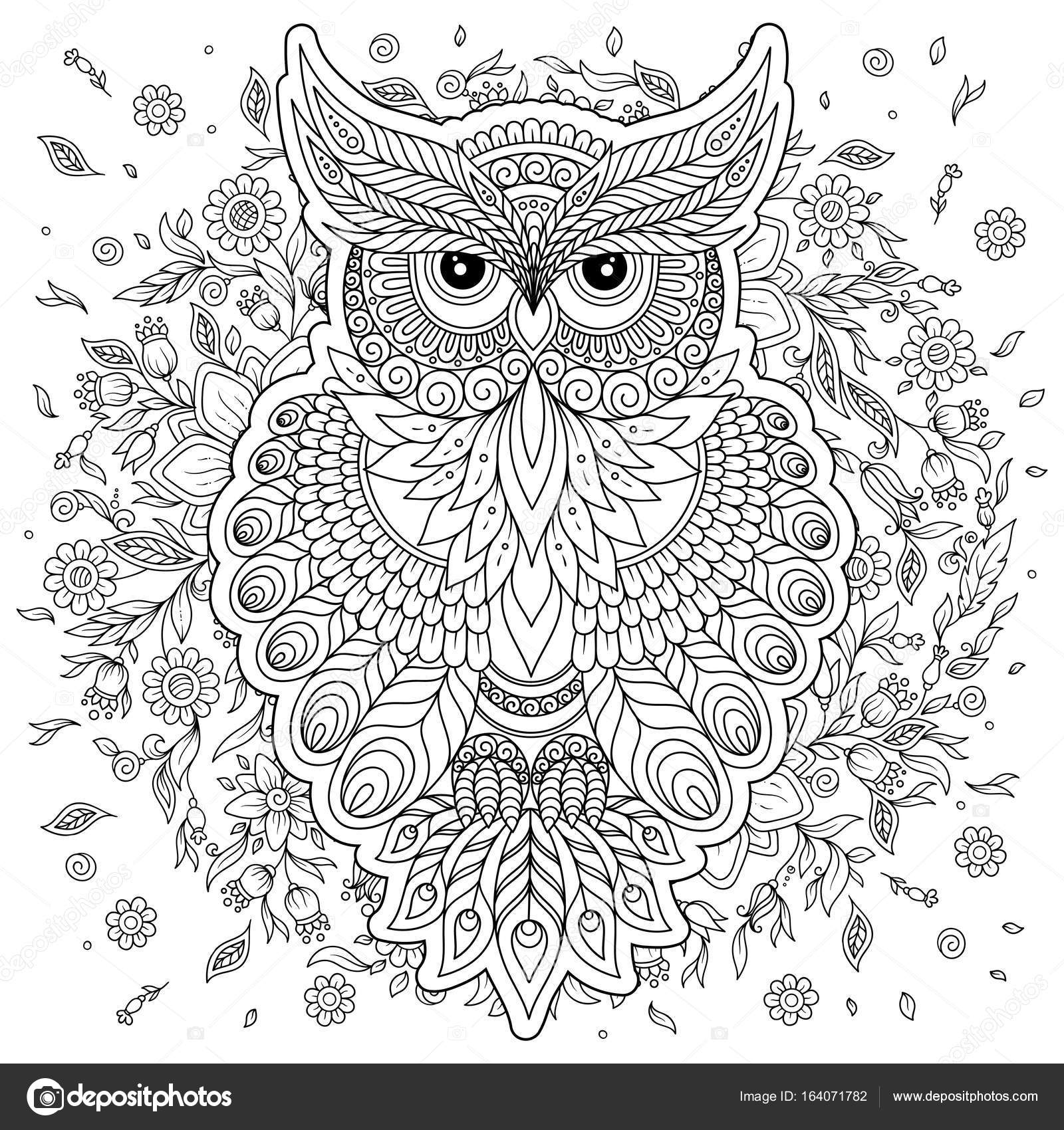 Coloring Page With Cute Owl And Floral Frame Stock Vector
