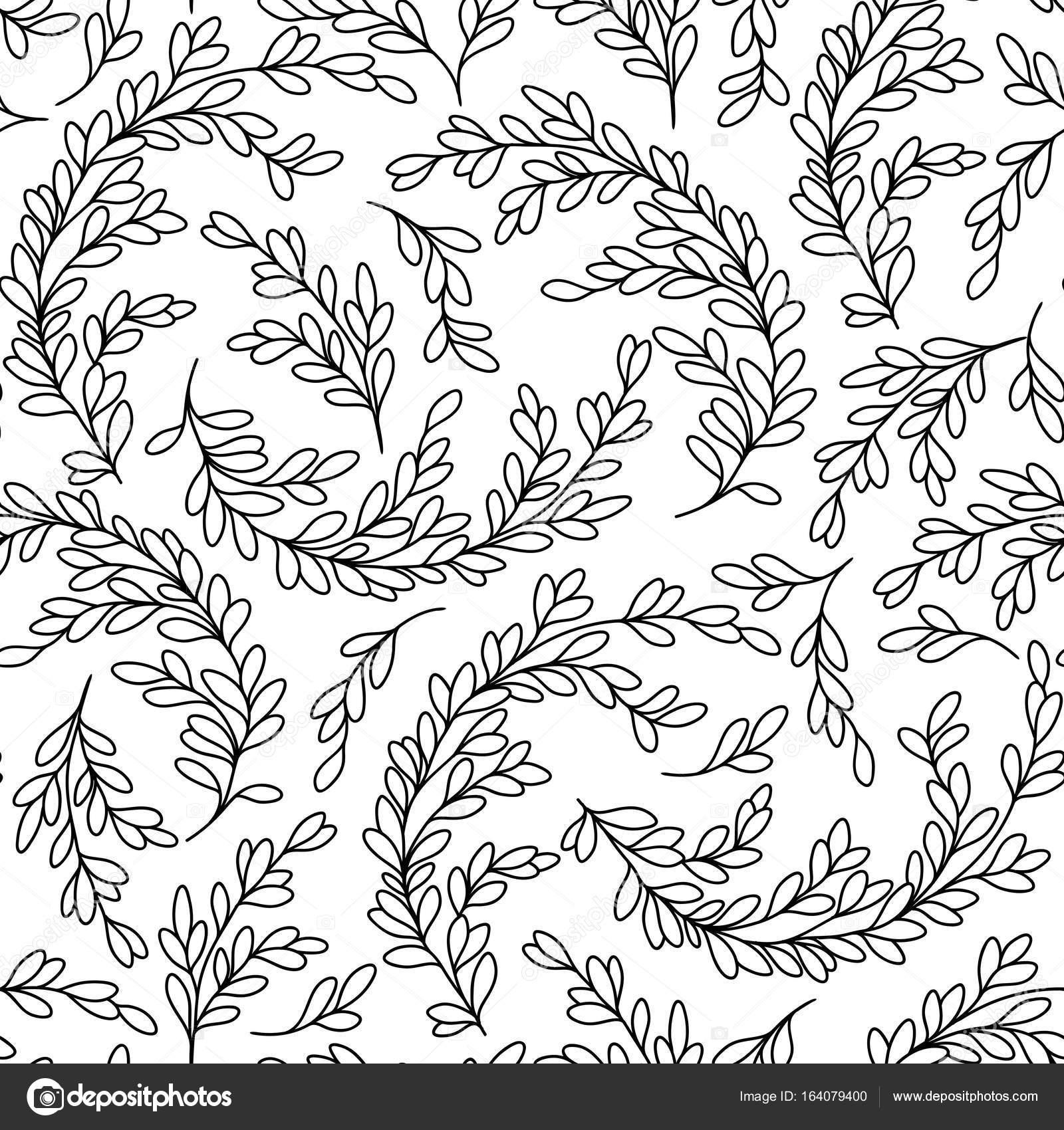 Soyut Yaprak Desenle Boyama Kitabı Sayfası Stok Vektör