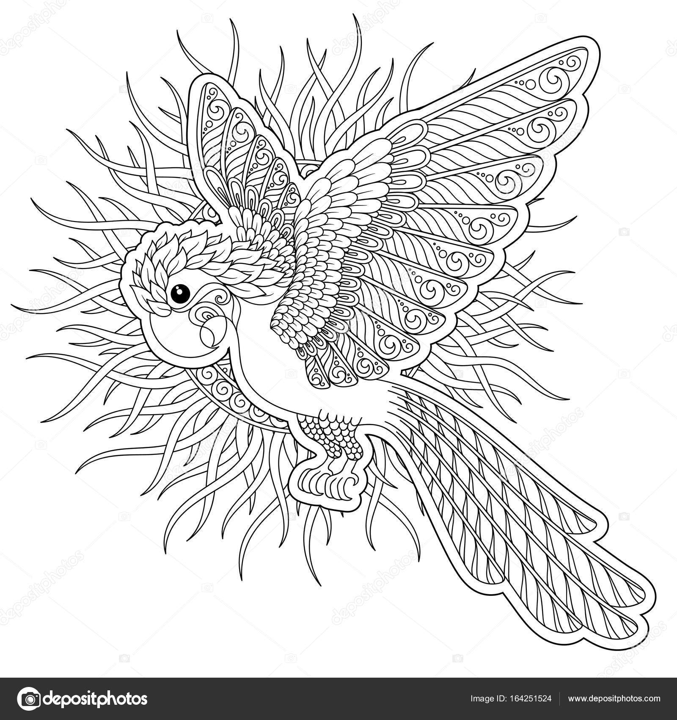 Fantasía de vector estilizada silueta de loros cacatúa selva ...