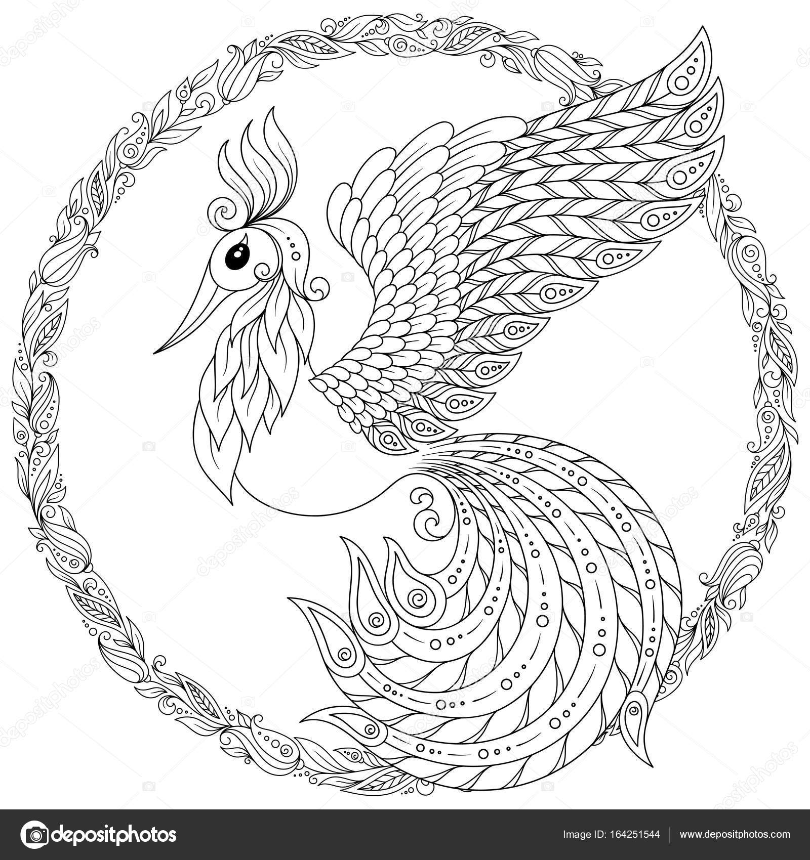 firebird for anti stress coloring page with high details