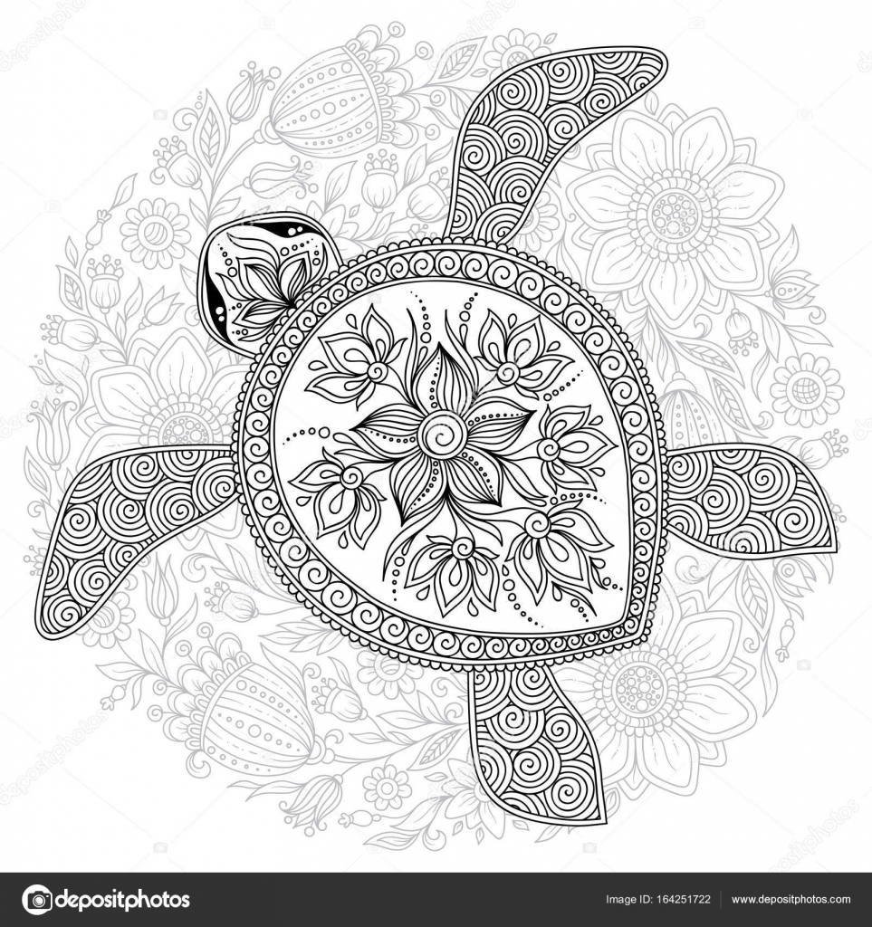 Vector illustration of sea turtle for Coloring book pages — Stock ...