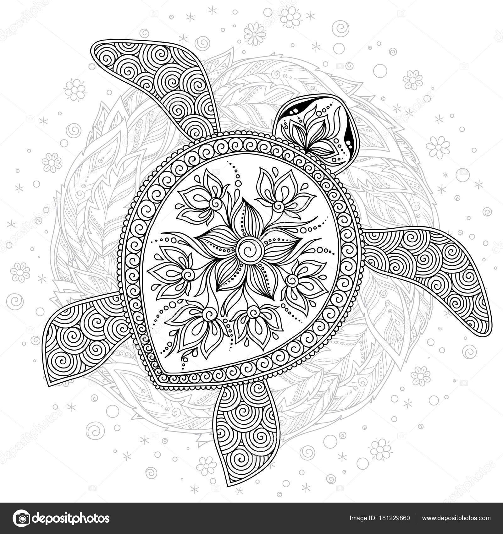vectorillustratie zee schildpad voor boek kleurplaten