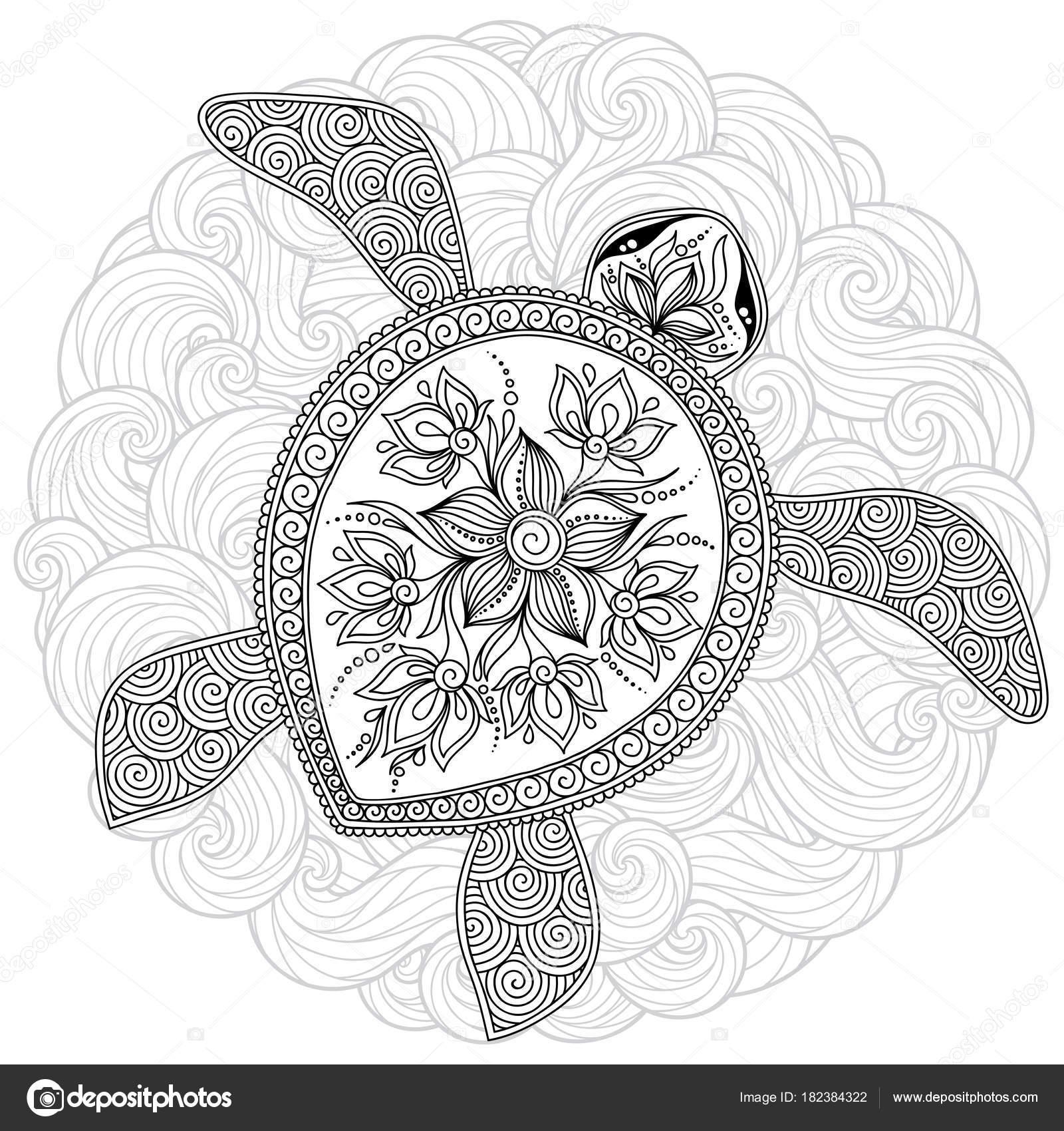 Vektor-Illustration der Meeresschildkröte für Buch Malvorlagen ...