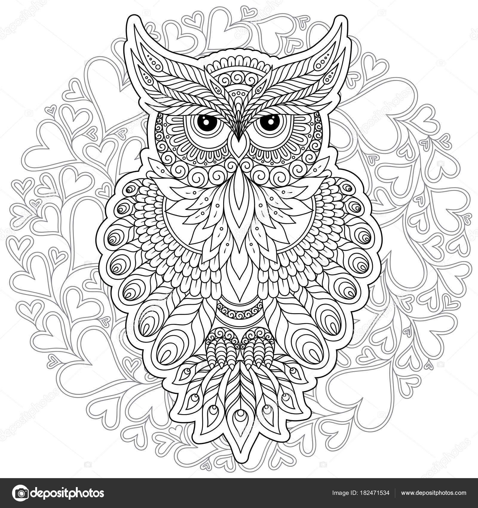 Página para colorear con búho lindo y marco flores — Vector de stock ...