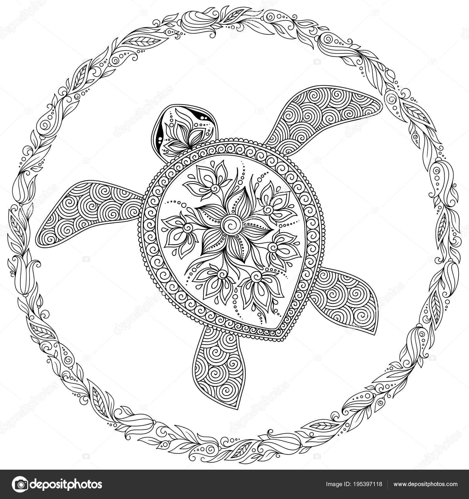 Kleurplaten Voor Volwassenen Schildpad.Vectorillustratie Zee Schildpad Voor Boek Kleurplaten Stockvector