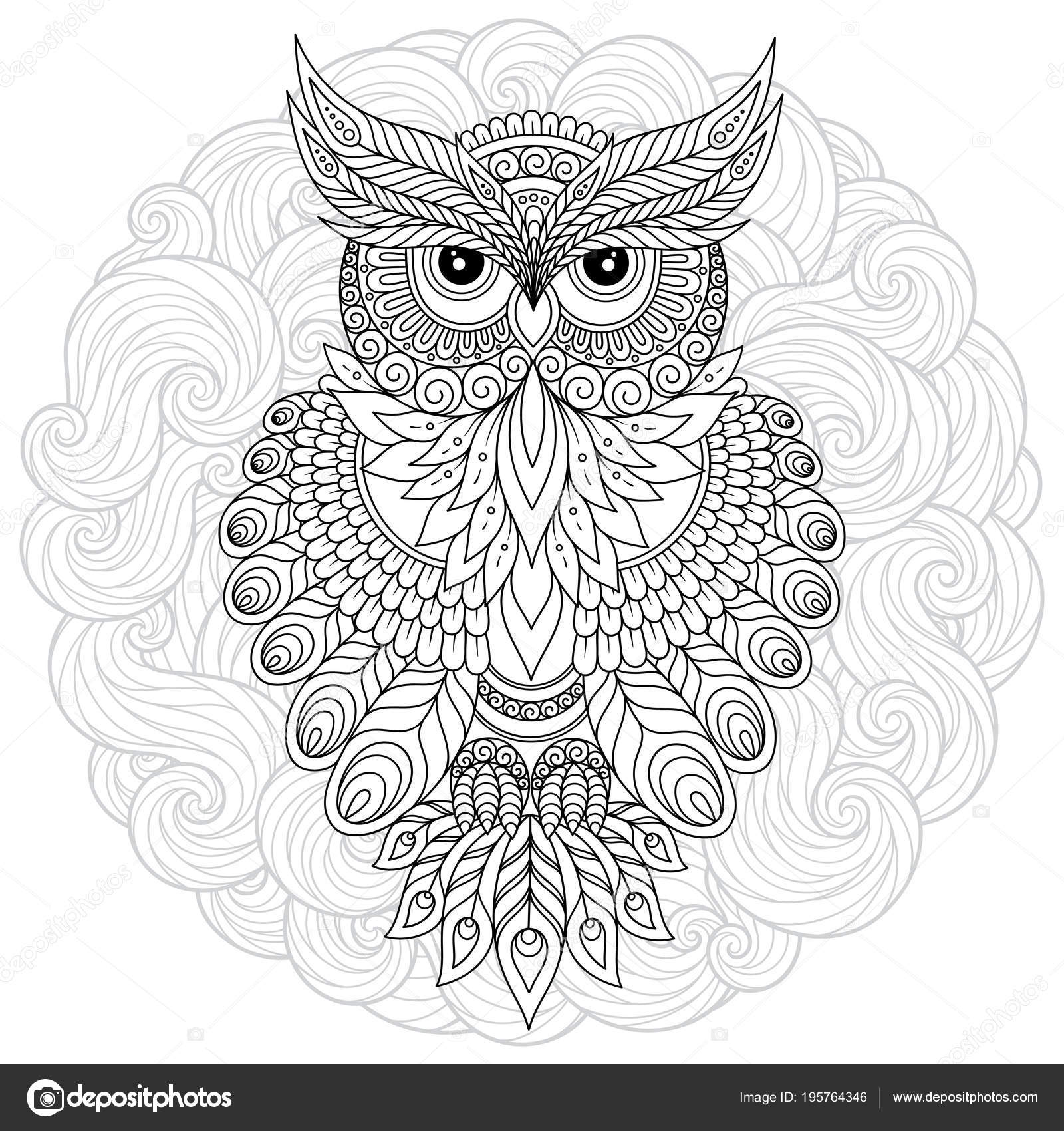 Coloring page with cute owl and floral frame. — Stock Vector ...