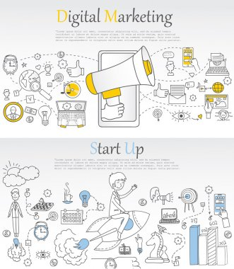 background of digital marketing with doodles elements