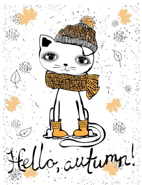 cute cat autumn for invitation, greeting card design, t-shirt print, inspiration poster.