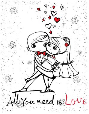 wedding couple for invitation, greeting card design, t-shirt print, inspiration poster.
