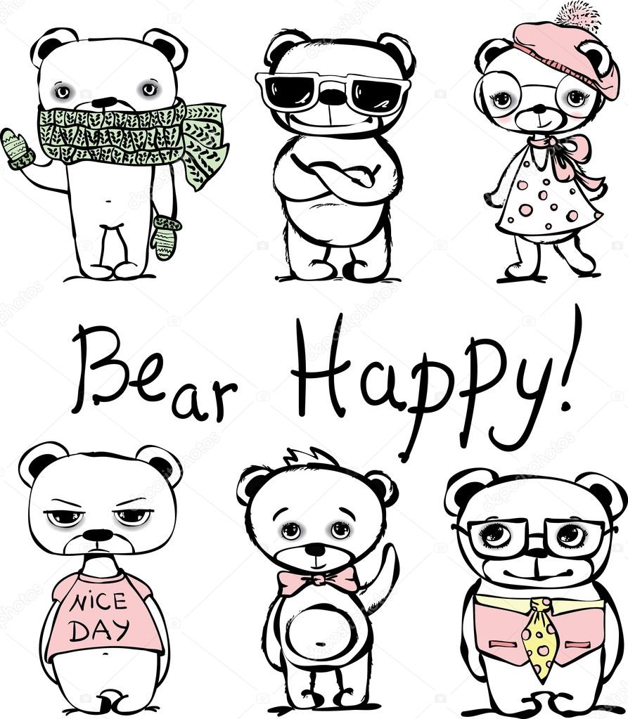 Bear set. greeting card design, t-shirt print