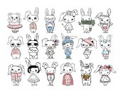 Fotografie Cute rabbits for greeting card
