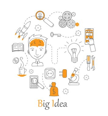 Templates with outline icons of big idea