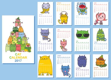 Calendar 2017 with cute cats