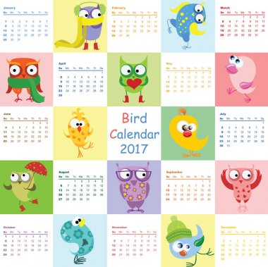 Calendar 2017 with owls and birds