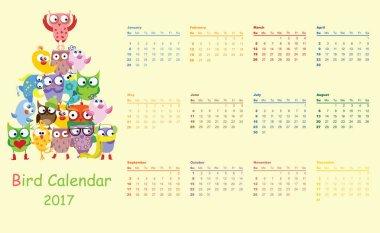 Calendar 2017 with owls and birds