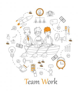Banner with outline icons of team work