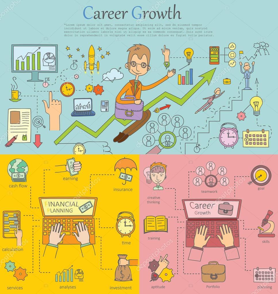 Plantillas con iconos de contorno de crecimiento profesional ...