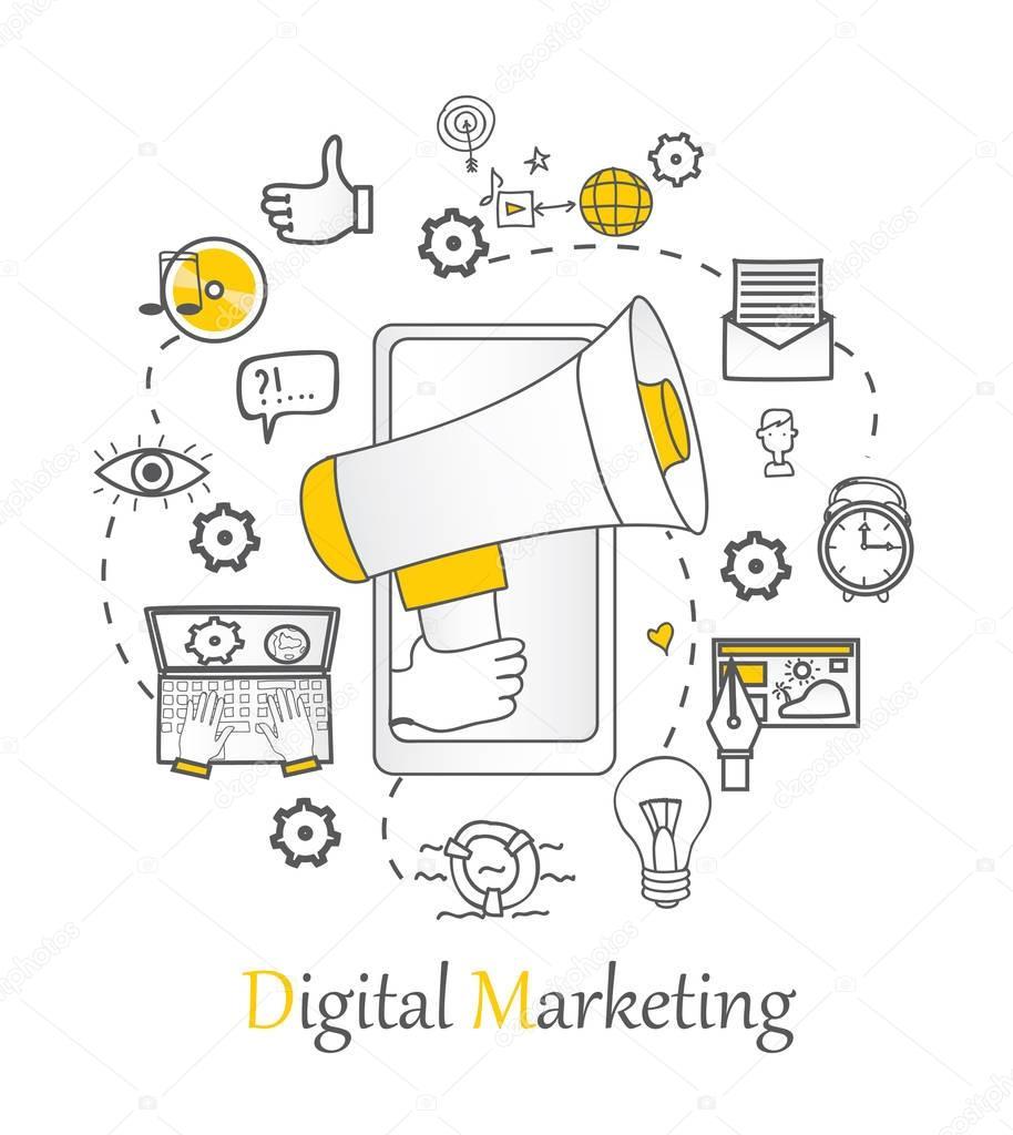plantillas con iconos de contorno del marketing digital — Vector de ...