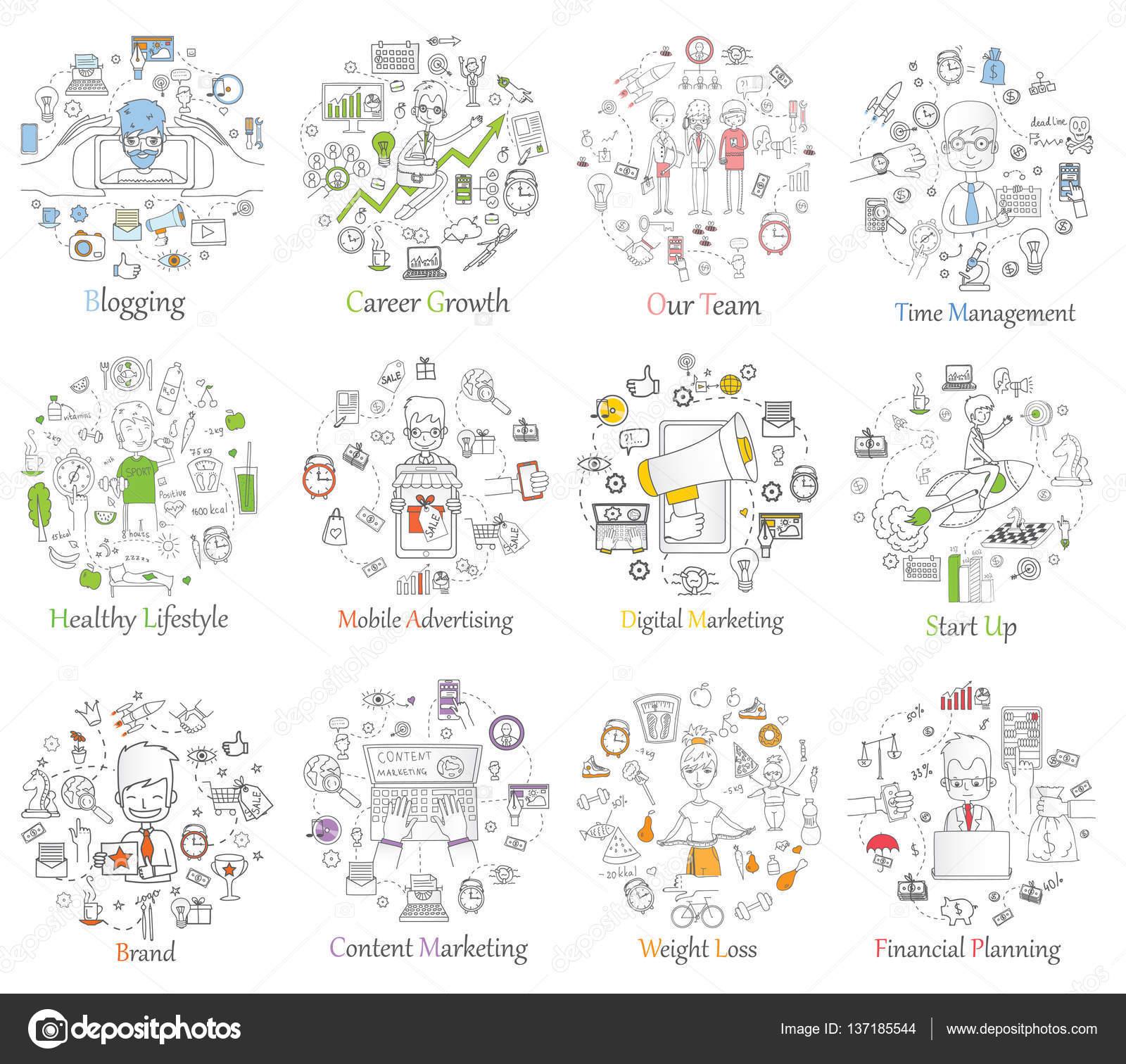 Plantillas de banners de web con iconos de contorno — Vector de ...