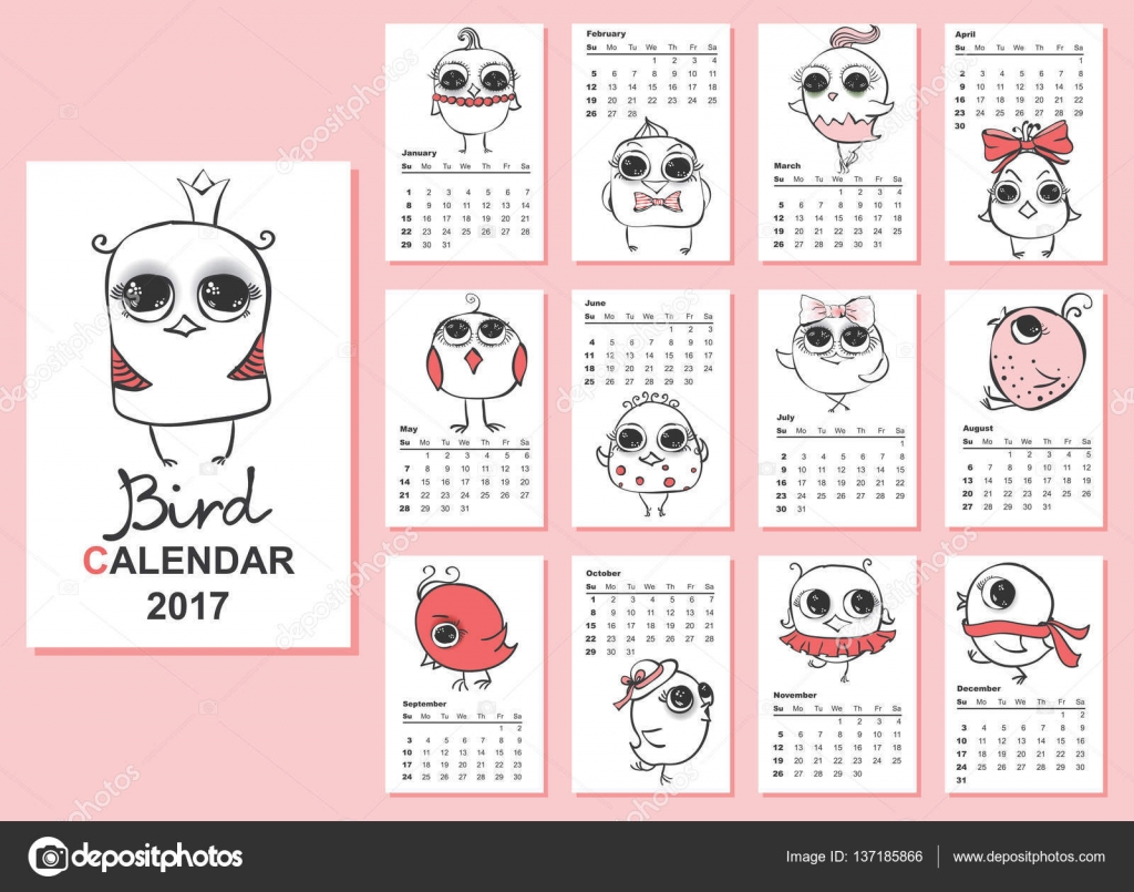 Cute Calendar Illustration : Cute calendar — stock vector virinaflora