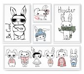 Fotografie set with stylish cute rabbits