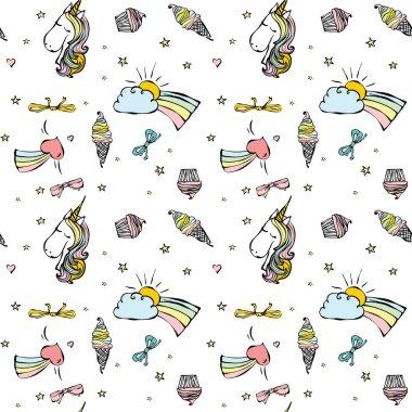 Cute magic unicorns pattern