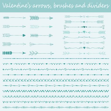 Seamless patterns of Hand-drawn valentines arrows, brushes and text dividers stock vector