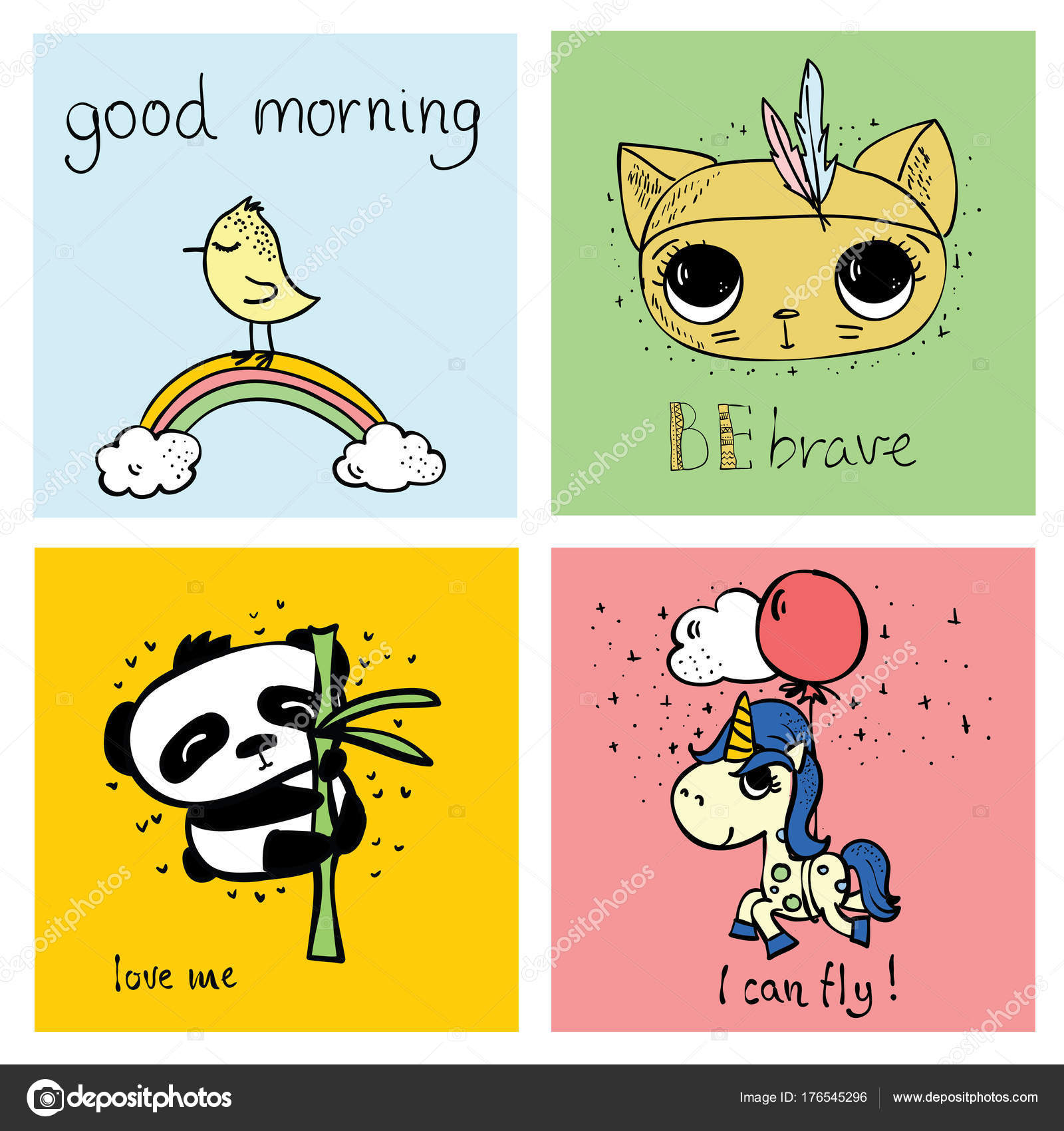 Vector Cards Cute Animals Simple Design Funny Lettering Kid Greeting