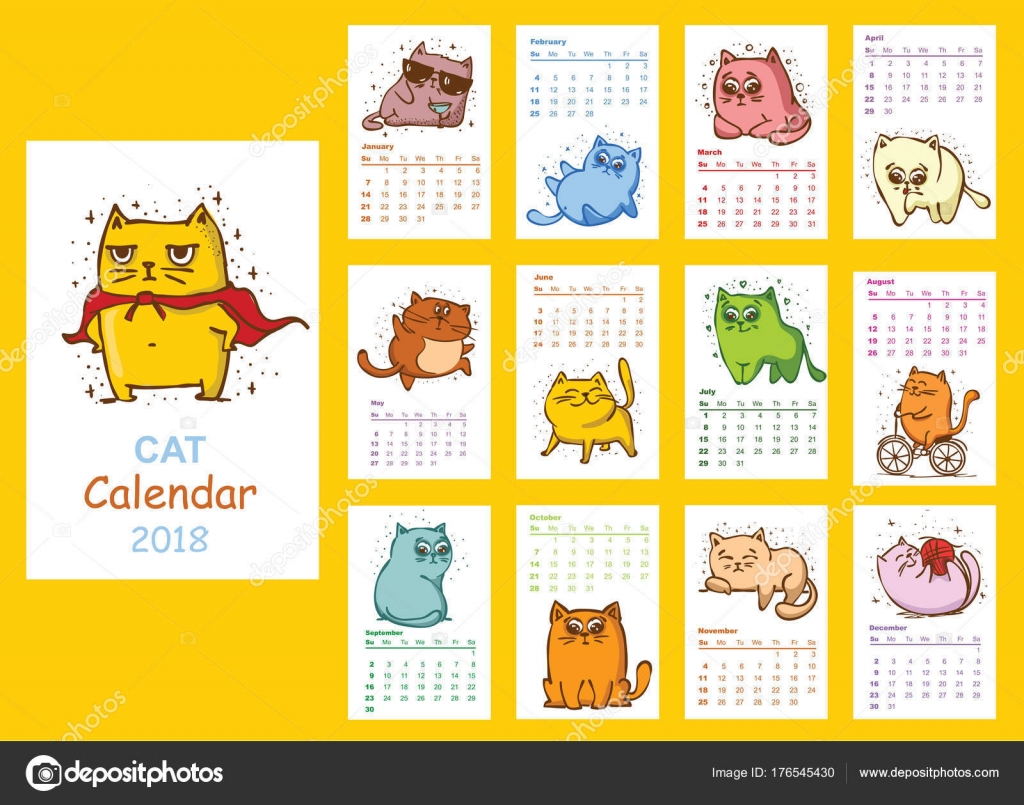Cute Calendar Illustration : Calendar cute cats every month vector isolated