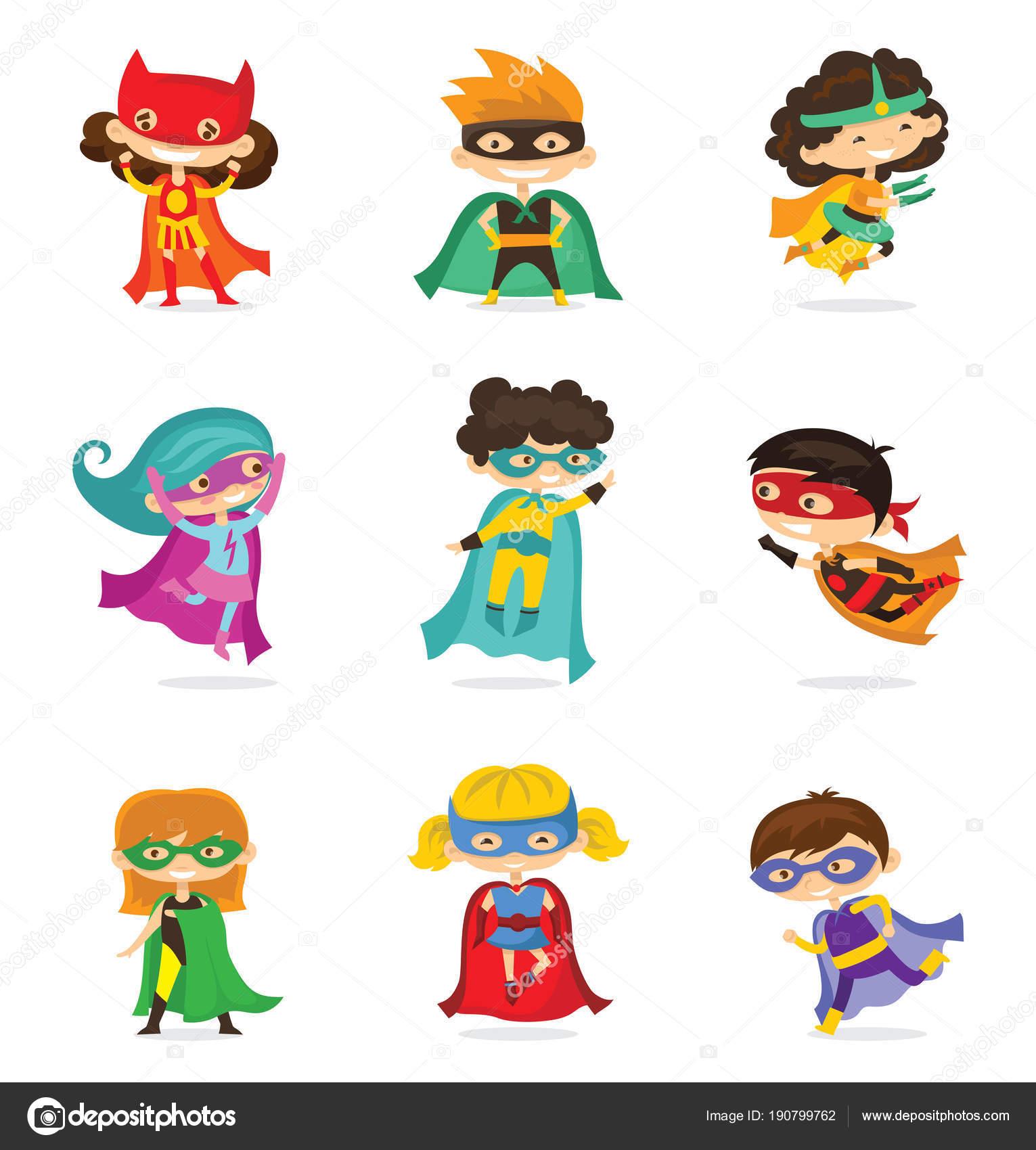 Ilustración Vector Dibujos Animados Superheroes Los Niños Con ...